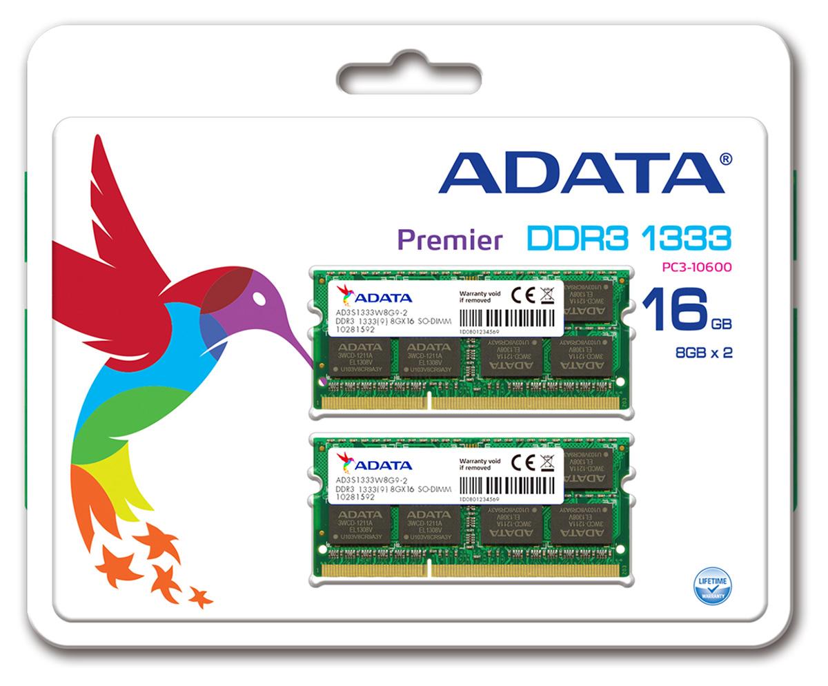 16gb Adata Ddr3 Pc3 10666 1333mhz Cl9 204 Pin Dual Channel Laptop Memory 1 Gb Ddr1 Pc3200 Ready Kit 2x8gb