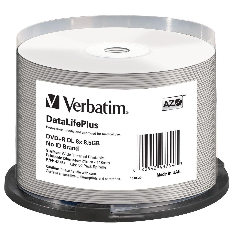 photograph about Verbatim Dvd R Printable identified as Verbatim DVD+R DL 8.5GB 8X DataLifePlus White Thermal Printable 50-Pack Spindle